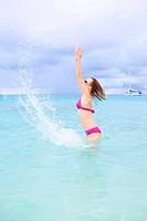 Girl having fun in ocean