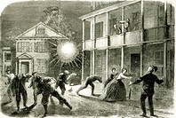 The Federals shelling the City of Charleston: Shell bursting in the streets in 1863 (engraving) (b/w photo), Vizetelly, Frank (1830-83) / Private Coll...