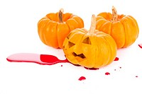 halloween pumpkin red blood on white backgroud