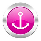 anchor violet circle chrome web icon isolated
