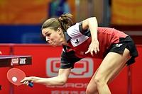 April 28, 2015 () -- Slovakia's Eva Odorova competes against Spain's Sara Ramirez during Women's Singles match at the 53rd Table Tennis World Champion...