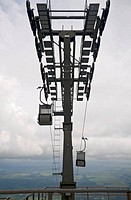 Cable car with clouds