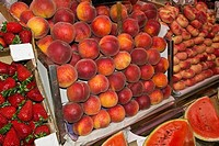 Gruop of fresh peach in the market