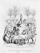 'After having a glass of sugar water, the famous orator comes down the platform', illustration from 'Scenes de la Vie Privee et Publique des Animaux' ...