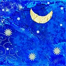 artwork with moon and stars