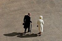 Britain's Queen Elizabeth and Prince Philip arrive for the Queen's garden party at Buckingham Palace in central London, Britain May 12, 2015.  TPX IMA...