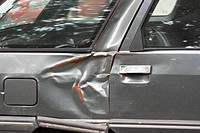 Dented car side