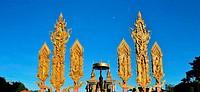 Thai style sacred shrine in a Buddhist temple