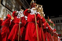 02-04-2015  (Viveiro, Lugo province, Galicia, Spain): Holy Week, Maundy Thursday, Prendimiento procession in the old town.