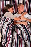 Couple, bedroom sleeping