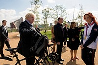 Mayor of London Boris Johnson MP, plants the final tree in the Queen Elizabeth Olympic Park's brand new Orchard. He was joined by gold medallist Jessi...