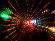 Colorful beams of xmas lights