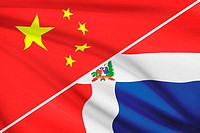 Series of ruffled flags. China and Dominican Republic.