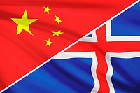 Series of ruffled flags. China and Iceland.