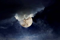 Cloudy full moon night