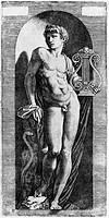 Apollo, by Marcantonio Raimondi (1480-1534), engraving. Italy, 15th-16th century.  Rome, Istituto Nazionale per la Grafica, Gabinetto Nazionale dei Di...