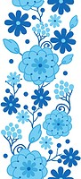 Delft blue Holland flowers vertical seamless pattern border