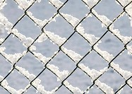 snow covered fence