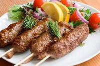 Kebab with salad