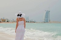 Young woman in the beach of Dubai