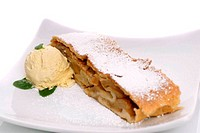 Freshly baked apple strudel