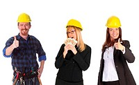 businesswoman with cash and colleague