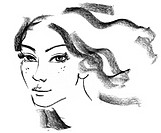 Female silhouette. Portrait of beautiful girl. Hand-drawn