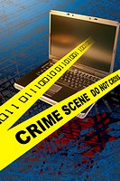 Conceptual illustration of a crime scene in cyberspace.