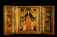 Triptych with Virgin and Child flanked by archangels, scenes from the life of Christ, on black background