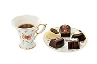 cup coffee and candies