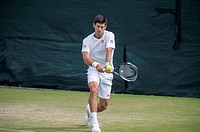 Novak DJOKOVIC (SRB) [1] at the Aorangi practice courts watched by his coach Boris Becker.   28.06.2015. The Wimbledon Tennis Championships 2015 held ...