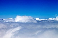 Mountains under clouds in nice day