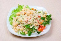salad with cheese and zwieback close up