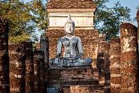 Old buddha statue in Sukhothai Historical Park