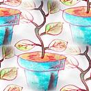 Mural background seamless pattern tree, pot texture
