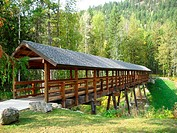 Wooden walking bridge
