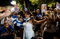 People celebrating the ' No ' (Oxi) victory at the Greek referendum about austerity, Syntagma Square, Athens, GREECE-05-07-2015.