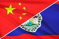 Series of ruffled flags. China and Belize.