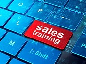 Advertising concept: Sales Training on computer keyboard background