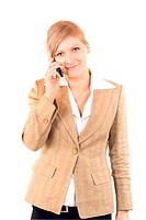 Girl in a jacket talking by phone.