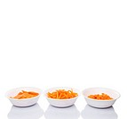 Chopped Carrots In White Bowls