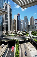 Hong Kong office buildings and roadway seen from roof of International Finance Centre mall.