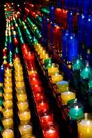 Spain, Catalonia, Barcelona region, Montserrat abbey, Ave Maria path, The pilgrims candles.