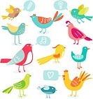 Cute colored birds with signs vector illustration