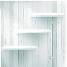 Layers Blank white wooden bookshelf. + EPS10