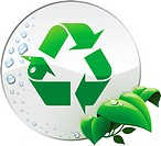 Round environmental label with recycling sign isolated on white.