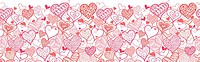 Valentine's Day Hearts Horizontal Seamless Pattern Border