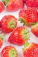 Strawberries are cleaned prior to processing
