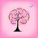 Colorful vector tree. Background, card, template