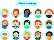Set of 15 female characters avatars